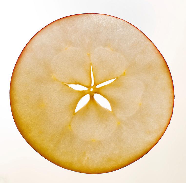 Nederland, Driebergen, 20 nov  2011.Dun plakje appel..Foto(c): Michiel Wijnbergh