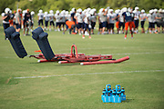"""Powerade bottles sit on the sidelines during a Frisco Wakeland High School football practice in Frisco, Texas on August 23, 2016. """"CREDIT: Cooper Neill for The Wall Street Journal""""<br /> TX HS Football sponsorships"""