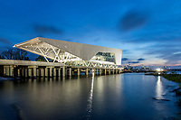 The iconic centerpiece of the Baton Rouge Water Campus is the Center for Coastal & Deltaic Solutions building set upon the Old Municipal Dock on the Mississippi River waterfront in Baton Rouge, La.