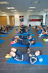 NEWPORT, WALES - Wednesday, October 8, 2014: Wales' Tom Lawrence and the squad do pre-activation before training at Dragon Park National Football Development Centre ahead of the UEFA Euro 2016 qualifying match against Bosnia and Herzegovina. (Pic by David Rawcliffe/Propaganda)