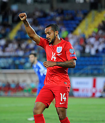 Theo Walcott of England (Arsenal) celebrates scoring his second goal of the game  - Mandatory byline: Joe Meredith/JMP - 07966386802 - 05/09/2015 - FOOTBALL- INTERNATIONAL - San Marino Stadium - Serravalle - San Marino v England - UEFA EURO Qualifers Group Stage