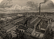 Camperdown Linen Works, Dundee, Angus, Scotland. Proprietors, Cox Brothers.  In spite of its name, this was a Jute mill, and Cox Brothers had a branch in Calcutta, India, which ensured the proper handling and shipping of its raw material.  All materials entered and left the factory by rail, and it had its own branch line connencting it with the main railway system.  From 'Great Industries of Great Britain' (London, c1880).  Engraving.
