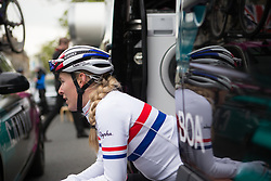 Hannah Barnes (GBR)  of CANYON//SRAM Racing contemplates the race after the Tour de Yorkshire - a 122.5 km road race, between Tadcaster and Harrogate on April 29, 2017, in Yorkshire, United Kingdom.