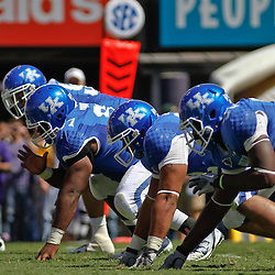 October 1, 2011; Baton Rouge, LA, USA; The Kentucky Wildcats defensive line lines up for a play against the LSU Tigers during the third quarter at Tiger Stadium. LSU defeated Kentucky 35-7. Mandatory Credit: Derick E. Hingle-US PRESSWIRE / © Derick E. Hingle 2011