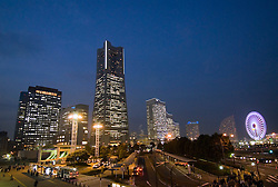 Skyline of Yokohama at night in Japan