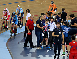 Kendall Ryan of USA after colliding with Marie Le Net of France (not in picture) during the Women's Madison Final during day three of the Tissot UCI Track Cycling World Cup at Lee Valley VeloPark, London.