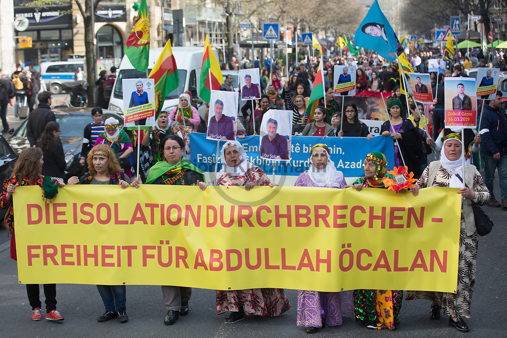 """Frankfurt am Main, Germany - 23.03.2019<br /> <br /> Major demonstration on the occasion of the Kurdish New Year Newroz. The central celebrations of the Kurds living in Germany take place this year in Frankfurt/Main - in the context of the celebration approximately 25,000 people with two demonstration marches under the slogan """"Newroz, the celebration of the liberty - freedom for Abdullah Oecalan"""" move through the hessian city.<br /> <br /> Großdemonstration anlaesslich des kurdischen Neujahrsfestes Newroz. Die zentralen Feierlichkeiten der in Deutschland lebenden Kurden finden in diesem Jahr in Frankfurt am Main statt - im Rahmen des Festes ziehen circa 25.000 Menschen mit zwei Demonstrationszuegen unter dem Motto """"Newroz, das Fest der Freiheit - Freiheit für Abdullah Oecalan"""" durch die hessische Großstadt.<br /> <br /> Photo: Bjoern Kietzmann"""