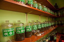 North America, United States, Washington, Seattle, jars of tea inside shop