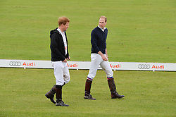 Left to right, PRINCE HARRY and HRH THE DUKE OF CAMBRIDGEat the Audi Polo Challenge at Coworth Park, Blacknest Road, Ascot, Berkshire on 31st May 2015.