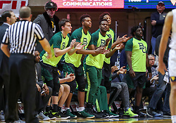 Jan 21, 2019; Morgantown, WV, USA; The Baylor Bears bench celebrates during the first half against the West Virginia Mountaineers at WVU Coliseum. Mandatory Credit: Ben Queen-USA TODAY Sports