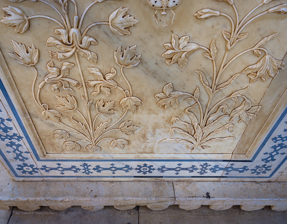 JAIPUR, INDIA - CIRCA NOVEMBER 2018: Detail of carverd marble walls of  the Amber Fort. Jaipur is the capital and the largest city of the Indian state of Rajasthan. Jaipur is also known as the Pink City, due to the dominant color scheme of its buildings and a popular tourist destination.