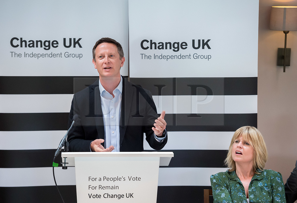 © Licensed to London News Pictures. 16/05/2019. Bath, Bath and North East Somerset, UK. JIM GODFREY, a Change UK MEP candidate for the south west of England at a Change UK - The Independent Group rally at Bath Cricket Club as part of campaigning in the elections for the European Parliament. Rachel Johnson is the lead Change UK candidate for south west England. Photo credit: Simon Chapman/LNP