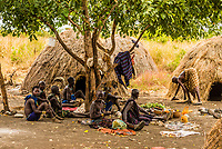 Mursi tribe village, Mago National Park, Omo Valley, Ethiopia.