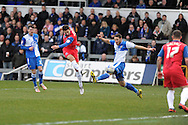 Gillingham's Chris Whelpdale © shoots and scores the1st goal. NPower league two match, Bristol Rovers v Gillingham at the Memorial stadium in Bristol on Saturday 5th Jan 2013. pic by Andrew Orchard, Andrew Orchard sports photography,