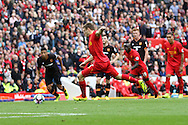 James Milner of Liverpool scores his teams 5th goal from the penalty spot. Premier League match, Liverpool v Hull City at the Anfield stadium in Liverpool, Merseyside on Saturday 24th September 2016.<br /> pic by Chris Stading, Andrew Orchard sports photography.