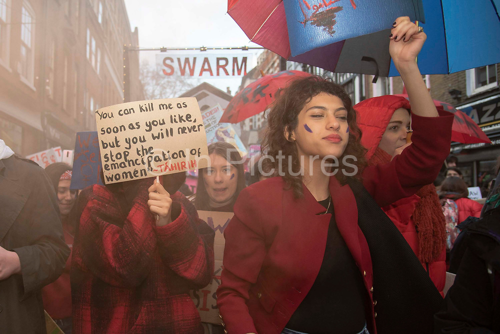 Sex workers go on strike on International Women's Day, marching from Soho to the Royal Court of Justice on 8th March 2020 in London, United Kingdom. Organised by the English Collective of Prostitutes, they are calling on the government to decriminalise sex work. (photo by Claire Doherty/In Pictures via Getty Images)