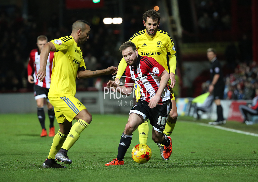 Brentford midfielder Alan Judge trying to find a way through during the Sky Bet Championship match between Brentford and Middlesbrough at Griffin Park, London, England on 12 January 2016. Photo by Matthew Redman.