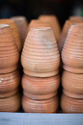 Clay cups to hold kulfi ice cream at a stall in Chadni Chowk, New Delhi, India