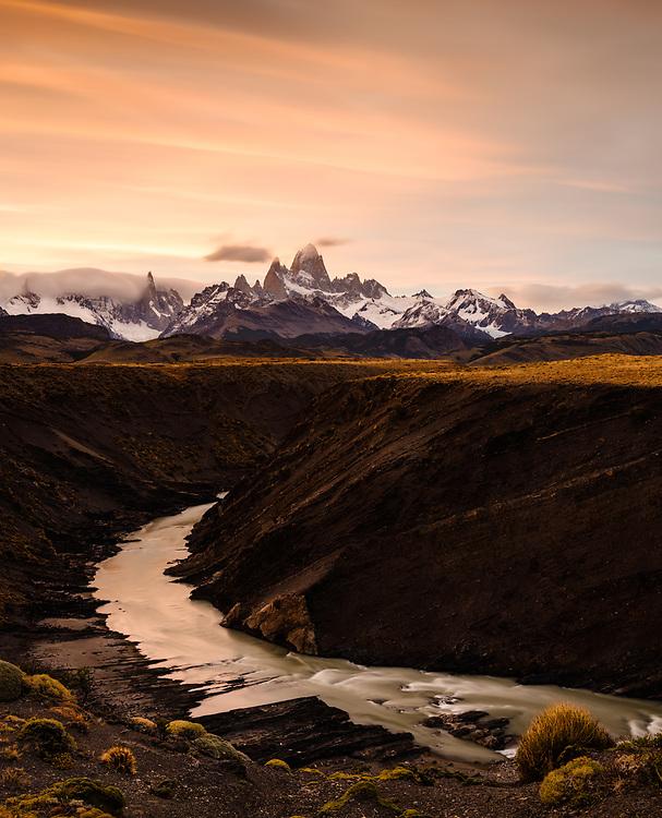 NATIONAL PARK LOS GLACIARES, ARGENTINA - CIRCA FEBRUARY 2019: Gorge and Rio de las Vueltas close to El Chalten in National Park los Glaciares in Argentina.