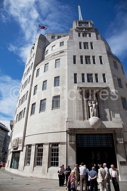 BBC Broadcasting House. Home to BBC Radio, and many an historic transmission. This Art Deco building has recently undergone a total refurbishment. Broadcasting House is home to BBC Radio 3, BBC Radio 4, and BBC Radio 7 and also houses the BBC Radio Theatre, where music and speech programmes (typically comedy for BBC Radio 4) are recorded in front of a studio audience. Portland Place and Langham Place, London, UK.