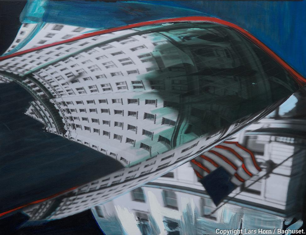 NYC in Colors  Horn / Andersen<br /> Plaza Hotel in mirrors horisontal II<br /> 100x130 cm    pris kr. 12.500,- <br /> Dato: 23.11.13<br /> Foto:  Lars Horn / Baghuset