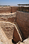 Israel, Negev, Tel Be'er Sheva believed to be the remains of the biblical town of Be'er Sheva. The water system collected flood water from the nearby stream the stone walled shaft
