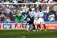 Thomas Ince of Derby County takes a free kick. Skybet football league championship match, Huddersfield Town v Derby county at the John Smith's stadium in Huddersfield, Yorkshire on Saturday 18th April 2015.<br /> pic by Chris Stading, Andrew Orchard sports photography.