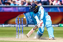 Adil Rashid of England is bowled by Tim Southee of New Zealand - Mandatory by-line: Robbie Stephenson/JMP - 03/07/2019 - CRICKET - Emirates Riverside - Chester-le-Street, England - England v New Zealand - ICC Cricket World Cup 2019 - Group Stage