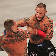 HOLLYWOOD, FL - JUNE 26: Jake Bostwick gets punched in the face by Julian Lane during the Bare Knuckle Fighting Championships at the Seminole Hard Rock & Casino on June 26, 2021 in Hollywood, Florida. (Photo by Alex Menendez/Getty Images) *** Local Caption *** Jake Bostwick; Julian Lane
