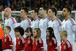The Wales team line up - Photo mandatory by-line: Dougie Allward/JMP - Tel: Mobile: 07966 386802 03/03/2014 -