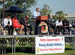 29 August 2013. Lower 9th Ward, New Orleans, Louisiana.<br /> Hurricane Katrina memorial 8 years later. <br /> Officials at the official memorial in remembrance of the day Hirricane Katrina swamped the community.<br /> Photo; Charlie Varley