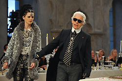 Stella Tennant and Designer Karl Lagerfeld attending the Chanel Paris-Bombay 2011/2012 fashion show at the Grand Palais in Paris, France on December 6, 2011. Photo by Christophe Guibbaud/ABACAPRESS.COM