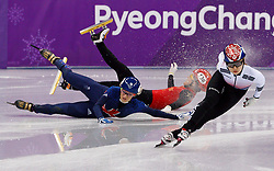 February 17, 2018 - Gangneung, South Korea - Short track speed skater JINYU LI  of China crashes into ELISE CHRISTIE Elise of Great Britain during the Ladies's Short Track Speed Skating 1500M semifinals as MINJEONG CHOI of Korea wins at the PyeongChang 2018 Winter Olympic Games at Gangneung Ice Arena. (Credit Image: © Paul Kitagaki Jr. via ZUMA Wire)