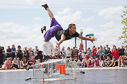 © Licensed to London News Pictures. 30/06/2012. London, England. Trolleys presented by C-12 Dance Theatre. Dancing City at Canary Wharf. Free outdoor dance performances at Canary Wharf. Dancing City is part of the Greenwich and Docklands International Festival, GILF 2012. Photo credit: Bettina Strenske/LNP