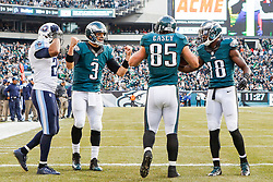 Philadelphia Eagles tight end James Casey #85 is congratulated by quarterback Mark Sanchez #3 after Casey scored a touchdown during the NFL game between the Tennessee Titans and the Philadelphia Eagles at Lincoln Financial Field in Philadelphia, Pennsylvania on Sunday November 16th 2014. The Eagles won 43-24. (Brian Garfinkel/Philadelphia Eagles)