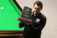 Ronnie O'Sullivan lifts the trophy after beating Neil Robertson 9-5 in the final. .Betvictor Welsh Open snooker 2016, Final day at the Motorpoint Arena in Cardiff, South Wales on Sunday 21st  Feb 2016.  <br /> pic by Andrew Orchard, Andrew Orchard sports photography.