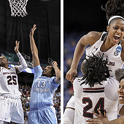 South Carolina's Tiffany Mitchell hits the game-winning shot for the Gamecocks against the North Carolina Tarheels during the NCAA women's basketball tournament in Greensboro. ©Travis Bell Photography