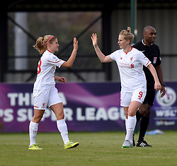 Natasha Dowie of Liverpool Ladies celebrates her hat-trick - Mandatory by-line: Paul Knight/JMP - Mobile: 07966 386802 - 13/09/2015 -  FOOTBALL - Stoke Gifford Stadium - Bristol, England -  Bristol Academy Women v Liverpool Ladies FC - FA WSL Continental Tyres Cup