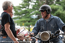 Kelly Modlin arriving at the finish for the day on his 1928 Indian in the Motorcycle Cannonball coast to coast vintage run. Stage-1 (145-miles) from Portland, Maine to Keene, NH. Saturday September 8, 2018. Photography ©2018 Michael Lichter.