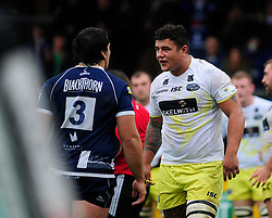Leeds Carnegie Prop (#1) Sam Lookwood argues with Bristol Rugby Prop (#3) Gaston Cortes after receiving a yellow card - Photo mandatory by-line: Dougie Allward/JMP - Tel: Mobile: 07966 386802 13/10/2013 - SPORT - FOOTBALL - RUGBY UNION - Memorial Stadium - Bristol - Bristol Rugby v Leeds Carnegie - B&I Cup