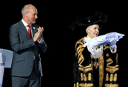 The flag for Birmingham 2022 is given to Lord Mayor of Birmingham Councillor Anne Underwood by Chairman of Commonwealth Games England Ian Metcalfe as part of the handover ceremony during the Closing Ceremony for the 2018 Commonwealth Games at the Carrara Stadium in the Gold Coast, Australia.