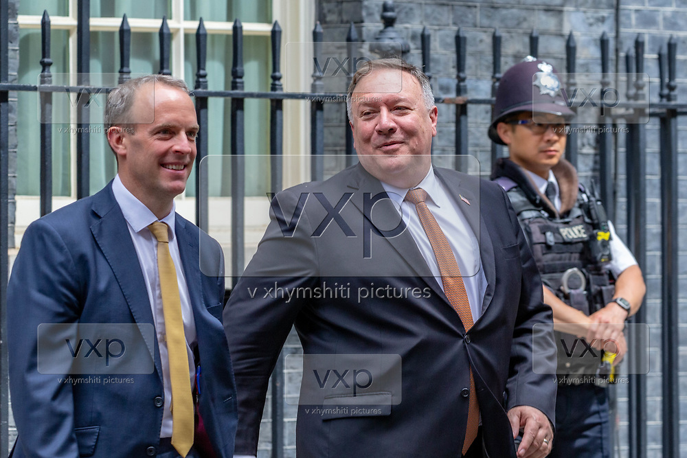 US Secretary of State Mike Pompeo (right in picture) and UK Foreign Secretary Dominic Raab (left in picture) leaves from Number Ten in Downing Street, central London on Tuesday, July 21, 2020 – to continue discussions at the Foreign and Commonwealth Office (FCO) on 'global priorities, including the COVID-19 economic recovery plans, issues related to the People's Republic of China (PRC) and Hong Kong. (VXP Photo/ Erica DeZonne)