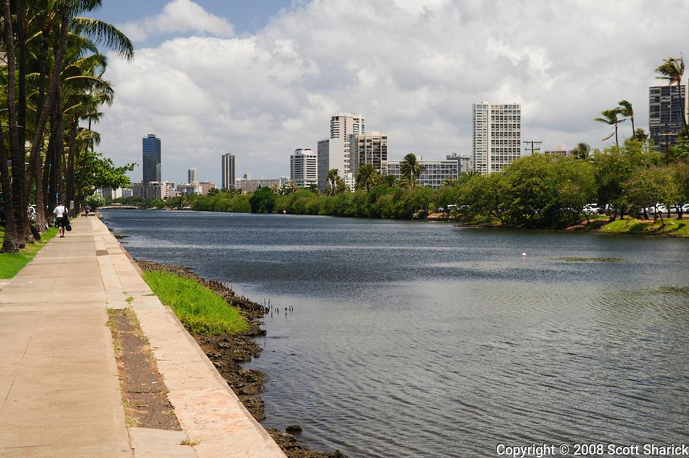 A view of the Ala Wai Canal in Honolulu, Hawaii