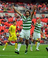 Georgios Samaras Celebrates Scoring 2nd goal with team mate Chris Killen<br /> Celtic 2009/10<br /> Tottenham Hotspur V Celtic 26/07/09<br /> The Wembley Cup at Wembley Stadium<br /> Photo Robin Parker Fotosports International