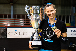 Olivera Kostic of Calcit Volley with medal and trophy after 3rd Leg Volleyball match between Calcit Volley and Nova KBM Maribor in Final of 1. DOL League 2020/21, on April 17, 2021 in Sportna dvorana, Kamnik, Slovenia. Photo by Matic Klansek Velej / Sportida