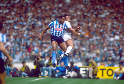 File Photo:  Former England forward Cyrille Regis has died aged 59. <br /> <br /> (L-R) Coventry City's Cyrille Regis contests a header with Tottenham Hotspur's Gary Mabbutt ... Soccer - FA Cup - Final - Coventry City v Tottenham Hotspur ... 16-05-1987 ... NULL ... NULL ... Photo credit should read: Peter Robinson/EMPICS Sport. Unique Reference No. 582950 ... NULL