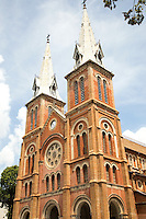 Saigon Notre Dame Basilica or as it was originally known Cathedrale Notre Dame de Saigon.  Today it is officially called Basilica of Our Lady of The Immaculate Conception.  It is the main cathedral of Ho Chi Minh City, usually called Saigon, even today by the Vietnamese. The cathedral was constructed between 1863 and 1880. Following the French conquest of Indochina the Roman Catholic Church established a community and religious services for French colonialists.  All building materials were imported from France: even the outside walls were built with bricks imported from Marseille.