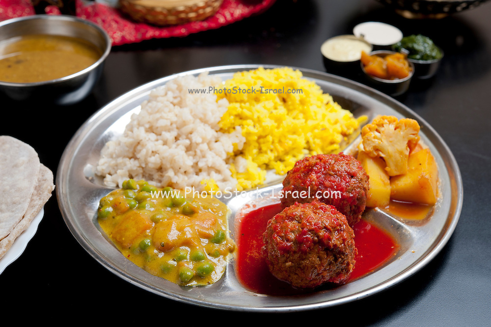 Indian Ethnical Food Beef Kofta (meatballs) with vegetables and rice
