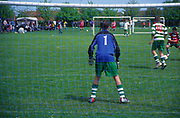 AF5GMB Children's football tournament. View of goalkeeper from behind the net