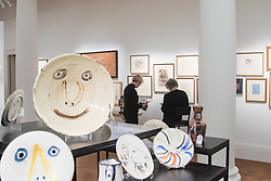 "Sotheby's, London, January 28th 2016. Part of the extensive ""Picasso In Private collection of drawings, ceramics and sculpture by Picasso that remained in his studio, and in a stand-alone sale on 5 February 2016 are to be auctioned by Sotheby's in London as part of their sale of Impressionist, Modern, Surrealist and Contemporary art. ///FOR LICENCING CONTACT: paul@pauldaveycreative.co.uk TEL:+44 (0) 7966 016 296 or +44 (0) 20 8969 6875. ©2015 Paul R Davey. All rights reserved."
